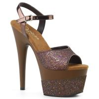 ADORE-709-2G Pleaser High-Heels Plateau Sandaletten coffee Multi Glitter