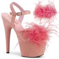 ADORE-709F Pleaser high heels platform ankle strap baby pink suede marabou feather