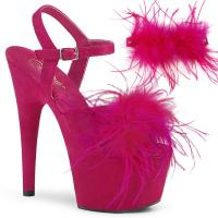 ADORE-709F Pleaser high heels platform ankle strap hot pink suede marabou feather