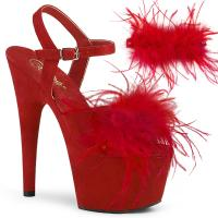 ADORE-709F Pleaser high heels platform ankle strap red suede marabou feather