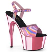 ADORE-709HGCH Pleaser high heels sandal baby pink hologram chrome