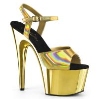 ADORE-709HGCH Pleaser high heels sandal gold hologram chrome