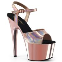 ADORE-709HGCH Pleaser high heels sandal rose gold hologram chrome