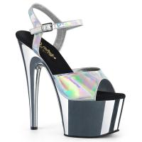 ADORE-709HGCH Pleaser high heels sandal silver hologram chrome