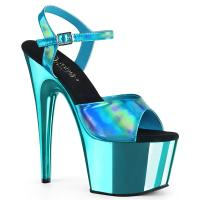 ADORE-709HGCH Pleaser high heels sandal turquoise hologram chrome