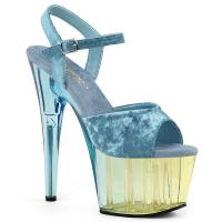 ADORE-709MCT Pleaser High Heels Platform Sandal light blue velvet dual tinted