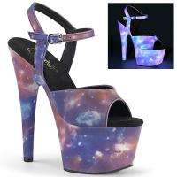 ADORE-709REFL Pleaser high heels platform ankle strap sandal purple-blue galaxy effect