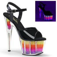 ADORE-709SRS Pleaser High Heels ankle strap sandal clear neon multicolor
