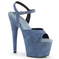 ADORE-709WR Pleaser high heels ankle strap sandal denim vegan leather
