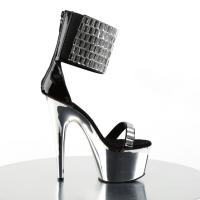ADORE-789RS Pleaser high heels chrome plated platform sandals rhinestones mirrors