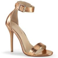 AMUSE-10 Pleaser high heels closed back ankle strap sandal rose gold metallic matte
