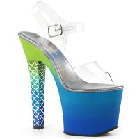 ARIEL-708OMBRE Pleaser High Heels Platform Sandal clear green-blue ombre