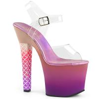 ARIEL-708OMBRE Pleaser High Heels Platform Sandal clear pink-purple ombre