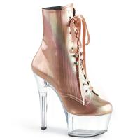 ASPIRE-1020BHG Pleaser high heels platform ankle boot rose gold clear brushed hologram