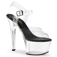 ASPIRE-608 Pleaser high heels platform ankle strap sandal clear black vegan insole