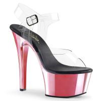 ASPIRE-608 Pleaser high heels platform ankle strap sandal clear baby pink chrome