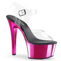 ASPIRE-608 Pleaser high heels platform ankle strap sandal clear hot pink chrome