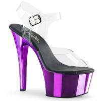 ASPIRE-608 Pleaser high heels platform ankle strap sandal clear purple chrome