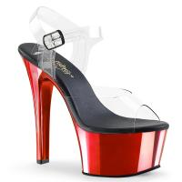 ASPIRE-608 Pleaser high heels platform ankle strap sandal clear red chrome