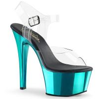 ASPIRE-608 Pleaser high heels platform ankle strap sandal clear turquoise chrome