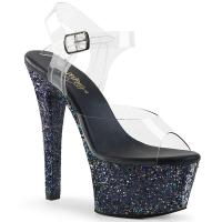 ASPIRE-608LG Pleaser high heels platform ankle strap sandal clear black multi glitter