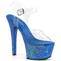 ASPIRE-608LG Pleaser high heels platform ankle strap sandal clear blue multi glitter