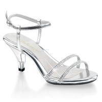 Fabulicious By Pleaser Belle-316 Silver Slingback Sandal Shoe Rhinestone Vamp