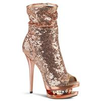 BLONDIE-R-1008 Pleaser High-Heels Dualplateau Stiefeletten roségold Pailletten Strass