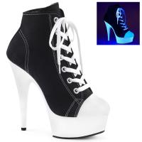 DELIGHT-600SK-02 Pleaser High Heels platform canvas sneakers black white blacklight uv reactive