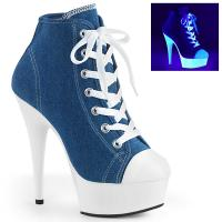 DELIGHT-600SK-02 Pleaser High Heels platform sneakers denim blue white blacklight uv reactive