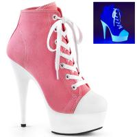 DELIGHT-600SK-02 Pleaser High Heels platform canvas sneakers pink white blacklight uv reactive