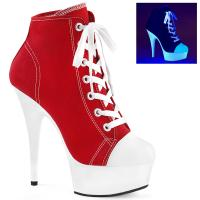 DELIGHT-600SK-02 Pleaser High Heels platform canvas sneakers red white blacklight uv reactive