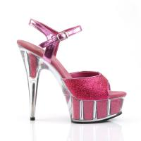 DELIGHT-609-5G Pleaser high heels platform ankle strap sandal hot pink mini glitter