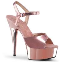DELIGHT-609 Pleaser High Heels platform ankle strap sandal rose gold metallic chrome
