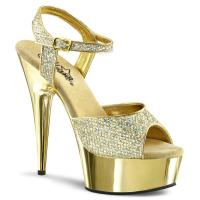 DELIGHT-609G Pleaser high heels chrome plated platform ankle strap sandal gold glitter
