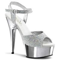 DELIGHT-609G Pleaser high heels chrome plated platform ankle strap sandal silver glitter