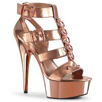 DELIGHT-658 Pleaser high heels platform t-strap close back sandal metal rings rose gold metallic