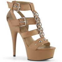 DELIGHT-658 Pleaser high heels platform t-strap close back sandal taupe matte metal rings