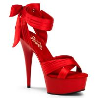DELIGHT-668 Pleaser High-Heels Plateausandaletten rot Satin mit Schleife