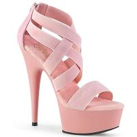 DELIGHT-669 Pleaser high heels criss cross sandal elastic straps baby pink