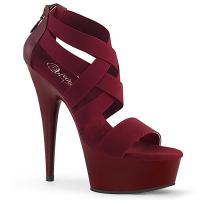 DELIGHT-669 Pleaser high heels criss cross sandal elastic straps burgundy