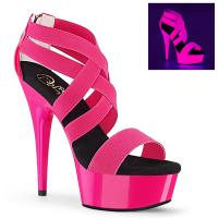 DELIGHT-669UV Pleaser high heels sandal UV reactiv neon hot pink patent elastic bands