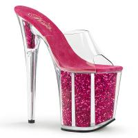 FLAMINGO-801G Pleaser high heels platform slide clear hotpink glitter