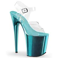 FLAMINGO-808 Pleaser high heels platform sandal clear turquoise chrome