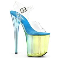 FLAMINGO-808MCT Pleaser high heels platform sandal clear light blue
