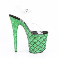 FLAMINGO-808MSLG Pleaser high heels platform sandal clear green multi glitter