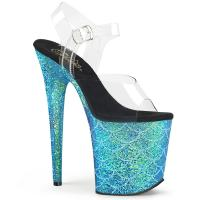 FLAMINGO-808MSLG Pleaser high heels platform sandal clear aqua multi glitter