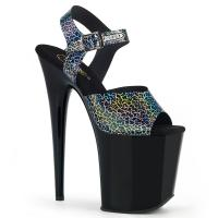FLAMINGO-808N-CK Pleaser high heels platform sandal black cracker hologram