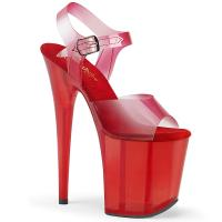 FLAMINGO-808N-T Pleaser high heels platform sandal red gradient and tinted