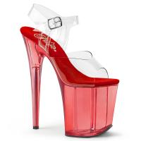FLAMINGO-808T Pleaser high heels platform sandal clear red tinted